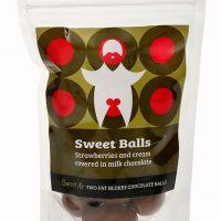 Sweet Balls – Strawberries and cream covered in milk chocolate